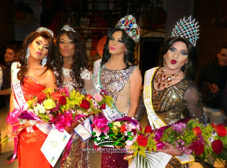 Festeggiamenti con le vincitrici del concorso miss earth international